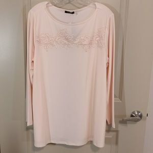 Verve ami pale pink blouse with lace